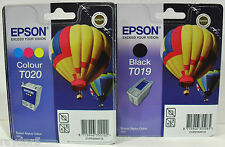 Epson T019 T020 Genuine Stylus 880 Hot Air Baloon Black & Colour Ink Cartridges