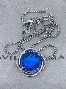 "David Yurman Sterling Silver Infinity 14mm Blue Topaz Necklace 18"""