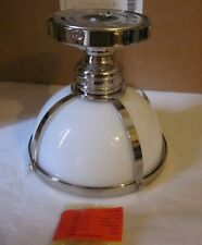 Pottery Barn Classic Milk Glass Ceiling Mount Pendant Polished Nickel Small