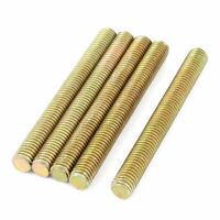 1.25mm Pitch M8 x 75mm Threaded Rod Bar Bolt Brass Tone 5 Pcs