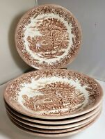 "CHURCHILL 6 BOWLS CURRIER AND IVES HARVEST BROWN TRANSFER WARE 7-3/4"" ENGLAND"
