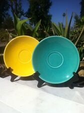 2 Metlox, California Pottery, Yellow And Turquoise Oversized Saucers