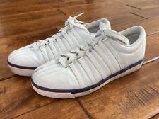 New listing Men's K Swiss Vintage White Leather Tennis Shoes 7.5 Women's 9.5 KaySwiss Stripe