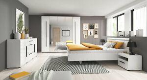 Schlafzimmer Komplett Kleiderschrank Bett 160x200cm weiß hochglanz 61703884