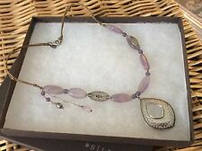 Silpada Pendant Necklace N2015 Sterling Silver Silk Cord Amethyst & Pearl