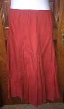 NORTH STYLE Paprika Red Crinkle Cotton Fully Lined Flared Peasant SKIRT , Sz 1X