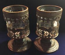 2 Vintage Embossed Metal Overlay Glass Candle Holders