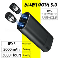 bluetooth 5.0 Earphones TWS Waterproof Wireless Earbuds Stereo 2000mAh Headphone