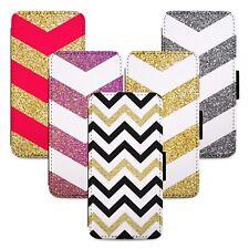 Chevron Stripe Pattern Flip Phone Case Cover Wallet - Fits Iphone 5 6 7 8 X 11