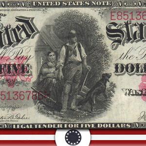 1907 $5 Legal Tender *WOODCHOPPER BILL* Fr 88   E85136786