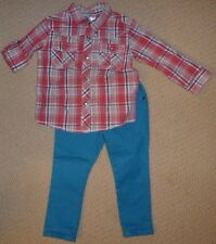 NWT Target Boys Jeans Checkered Collared Shirt Set Size 2