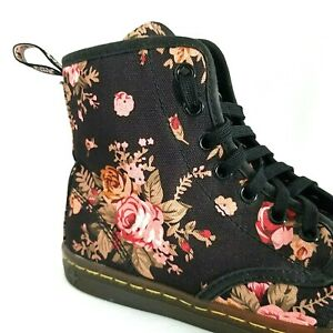 DR MARTENS Ankle Boots Shoreditch Black Pink Canvas Floral Women's US 6/37 VEUC*