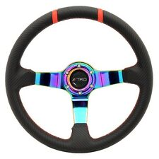 350mm 6-Hole Racing Steering Wheel Neo Spokes Carbon Fiber Red Stitch TRD Emblem