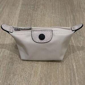 Auth Longchamp Le Pliage CLUB MINI COIN PURSE MINI Wallet CHALK WHITE BN
