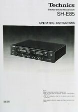 Technics SH-E85 Stereo Graphic Equalizer - Operating Instruction EQ USER MANUAL