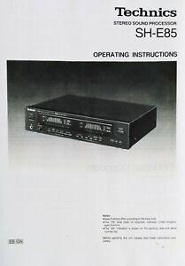 Technics SH-E85 Stereo Graphic Equalizer - Operating Instruction EQ USER MANUAL