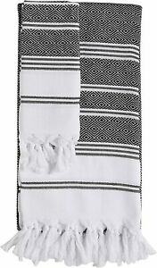 2 Pcs Turkish Cotton Bath Beach Hamam Fouta Towel Blanket & Hand Dish Towel Set
