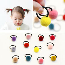 10Pcs Cute Girl Hair Band Elastic Pompom Ball Hairband Rope Ring Ponytail Holder