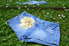 Vtg 90s Ladies Denim Hot Pants Jeans Shorts Low Rise FREE Floral Detail sz M Q29