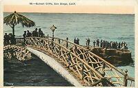 DB Postcard CA H310 Sunset Cliffs San Diego People Bridge Ocean Cancel 1925