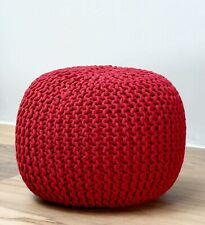 Woven pouf Living room Hand Knotted Handwoven Red color cotton 45 diameter