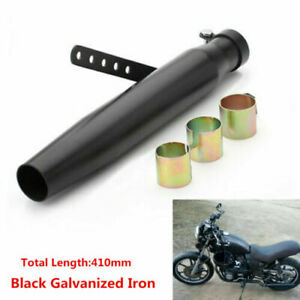 410mm Motorcycle Retro Tapered Slip-On Exhaust Muffler Pipe Tip Cafe Racer Black