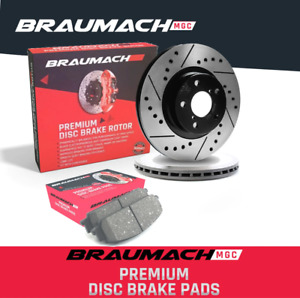 Front Set Brake Pads + Slotted Disc Rotors for Ford Falcon BA Ute 4.0 i XR6 Turb