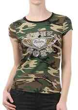 "New Women's Juniors Summer Camouflage T-Shirt ""Love Soul"" Rhinestone Army Top"