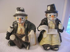 2 Vintage Clown Music Boxes; Hobo with a Bottle, Hobo with a Book