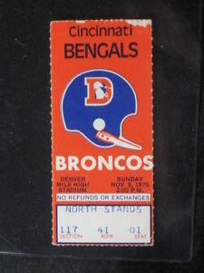 1975 Cincinnati Bengals at Denver Broncos Ticket Stub 16-17 Score