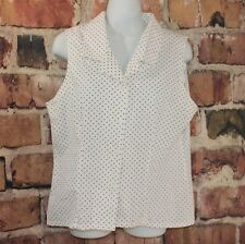 Polkadot sleeveless shirt sz Lg L vtg Gitano white black button front rockabilly