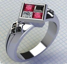 Harley Quinn Ring Ruby and Black Diamond Engagement Wedding 925 Sterling Silver