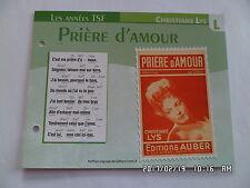 CARTE FICHE PLAISIR DE CHANTER CHRISTIANE LYS PRIERE D'AMOUR