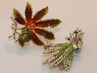 'Exquisite' signed vintage 1960s hand-enameled brooches
