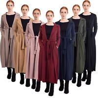 Womens New Long Loose Cardigan Boho Fashion Jacket Coat Pleat Trench Maxi Abaya