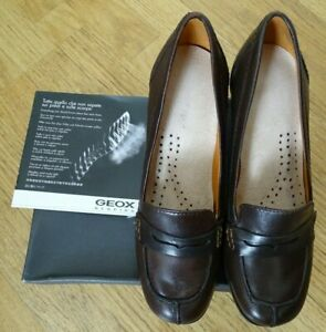 Ladies Geox Respira Dark Brown Heeled Loafers UK 6; EUR 39 RRP £99