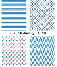 Sea Ocean Blue and Red Sailor Water Transfers Nail Art Sticker Decals Decoration