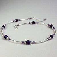 Purple amethyst crystal silver vintage collar choker wedding bridal necklace