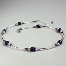 Purple amethyst crystal silver vintage collar choker wedding bridal necklace