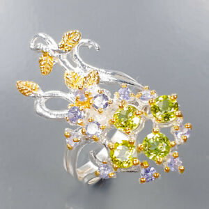 Handmade gemstone ring Peridot Ring Silver 925 Sterling  Size 6.5 /R165194