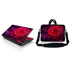 "15.6"" Laptop Computer Sleeve Bag w Shoulder Strap & Matching Skin Red Pink Rose"