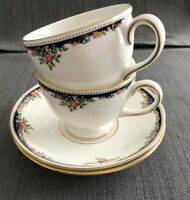Set of 2 Wedgwood Osborne Footed Cups and Saucers  Leigh Shape NEW