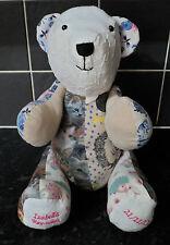 PERSONALISED HANDMADE MEMORY KEEPSAKE BEAR MADE FROM BABYS CLOTHES BOY OR GIRL