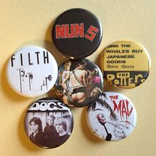 """Killed By Death set of 6 pin back buttons 1.25"""" KBD Punk"""