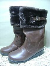 New Laura Ashley SZ 5 Brown Boots Faux Fur Trim Wedge Heel Back Zip