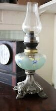 French Victorian Oil Lamp with Silver Plated Base - FREE Shipping [PL4548]