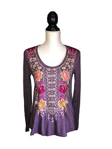 Johnny Was Womens Flores Embroidered Long Sleeve  Shirt Purple Size Small