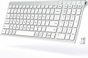 Wireless Keyboard Rechargeable with Number Pad Full Size Stainless Steel Slim