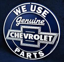 Genuine CHEVROLET Parts *US MADE* Embossed Round Metal Sign Garage Shop Man Cave