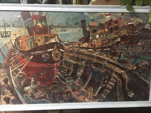 John PERCEVAL Australian old framed print on board 1956 Ships at Wiliamstown